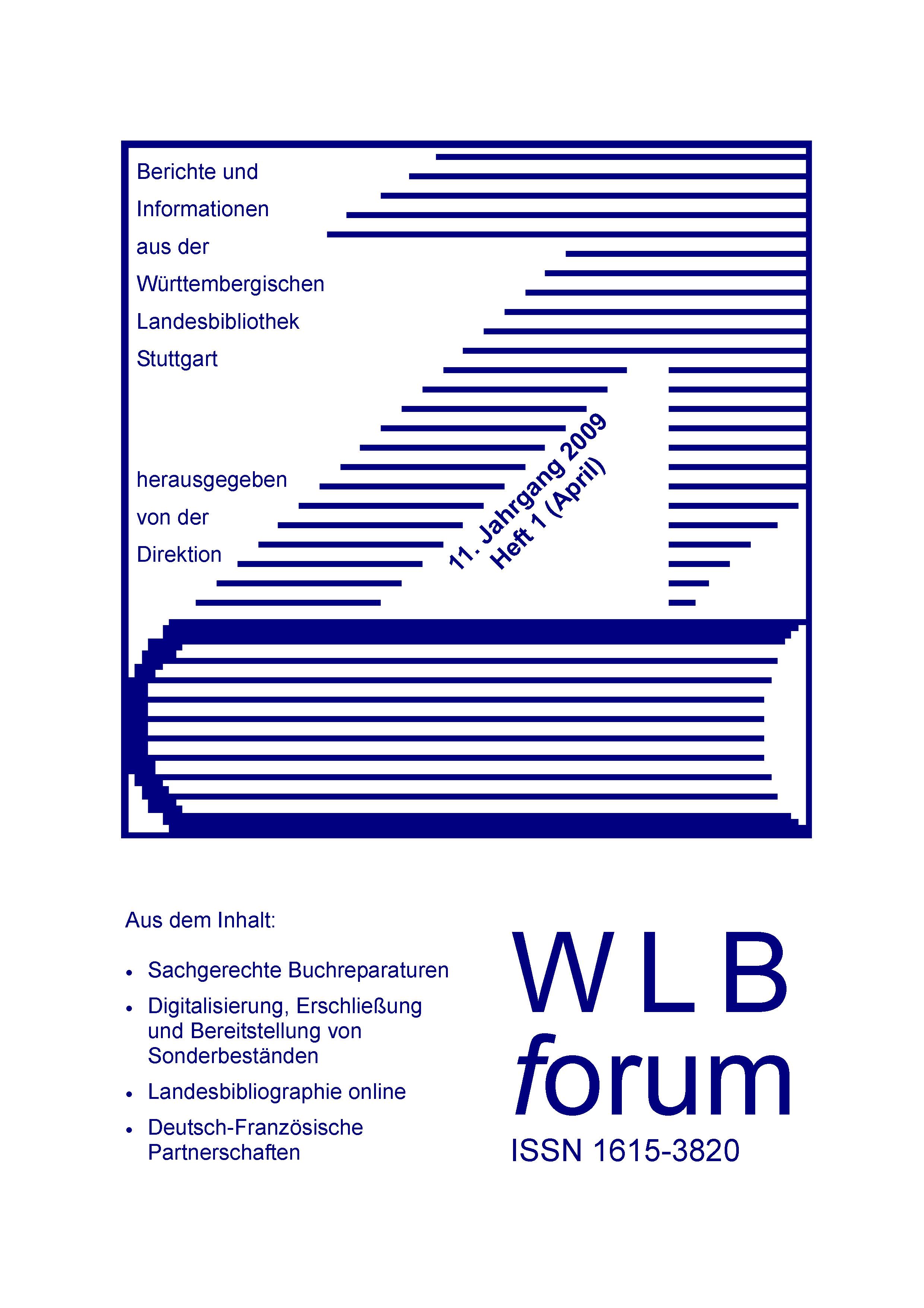 Ansehen Bd. 11 Nr. 1 (2009): WLBforum